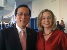 Irvine Commissioner Melissa Fox with former Irvine Mayor Sukhee Kang